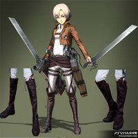 TOP Popular Japanese Anime Boots Attack on Titan Cosplay Cos...