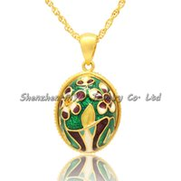 Damas joyas regalos encantadora flor floral collares hecho a mano color esmalte ruso estilo fabuloso huevo colgantes collar de mujer