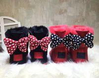 تصميم كلاسيكي قصير بيبي بوي فتاة للنساء KOW BOW-TIE حذاء الثلوج FUR المتكاملة إبقاء الحارة الدافئة يورو EUR SZIE 25-41 شحن مجاني