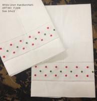 """Tessile per la casa Asciugamano 12PCS / Lot 14 """"x22"""" White Linen Holiday Guest asciugamani con colori di Natale rosso e verde di punti ricamati per le occasioni"""