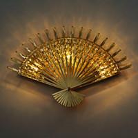 Lámpara de pared de cristal en forma de abanico Moderno Pasillo simple Escalera Lámpara de pared Dormitorio Aplique de pared LED Lámpara de noche Cristal de WaLL