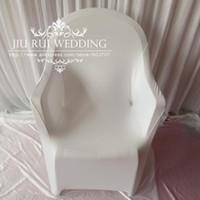 Darmowa Wysyłka - 190gsm White Poliester Spandex Lycra Arm Chair Pokrywa do plastikowej ramienia krzesło 100 sztuk dużo z bezpłatną wysyłką