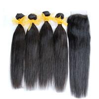 閉鎖8A未処理の髪の織り4束4個のバンドルを追加する1ピースレースの閉鎖を追加する