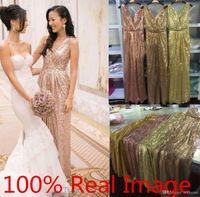 2020 Seksi V Boyun Gül Altın Sequins Nedime Elbisesi Artı Boyutu Backless Gerçek Image Onur Düğün Parti Elbiseleri Hizmetçi