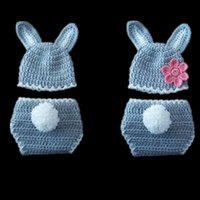 Newborn Gray White Easter Bunny Costume, Handmade Knit Croche...