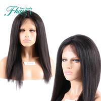 """8A Işlenmemiş Hint İnsan Saç Peruk Yaki Düz Tutkalsız Tam Dantel Peruk Siyah Kadınlar Için Dantel Ön Peruk 8 """"-32"""" Inç Uzunluğu Saç"""