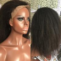 Kinky Düz Tutkalsız Dantel Ön Peruk Öncesi Klumped Doğal İtalyan Yaki Brezilyalı Remy İnsan Saç Peruk Siyah Kadınlar Için Tam 13x4 Frontal Peruk