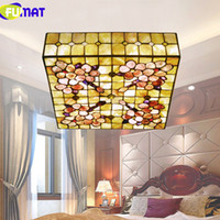 FUMAT 16 Inch 20 Inch Square Ceiling Light Natural Shell Cei...