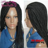 Synthetische schwarze Flechtenhaarspitzefrontperücken volle Hand umsponnene riesige Zopfperücken für schwarze Frauen Afroamerikaner freies Verschiffen