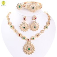 African Wedding Jewelry Sets High Quality Gold Plated Rhinst...