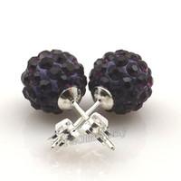 10mm Dark Purple Disco Balls Crystal Earring Borchie Silver placcato per il regalo di Natale 20 paia all'ingrosso