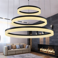 Acrylique moderne 110V 220V LED Pendentif lampe ronde bague Restaurant Study Study Boîte Salon Salon Décoration Chandeli