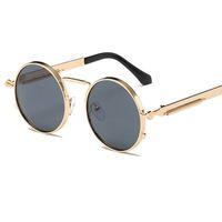빈티지 라운드 선글라스 복고풍 스팀 펑크 태양 안경 여성 브랜드 디자이너 미러 선글라스 금속 프레임 UV400 L18