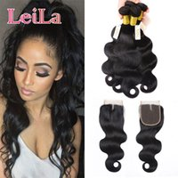 Brazilian Body Wave 4 Bundles With Lace Closure 5 Pieces Rem...