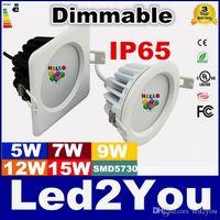 10 stks / partij 5W 7W 9W 12W 15W IP65 Driverless Dimbare LED Downlight Hoge Kwaliteit AC85-265VV Waterdichte LED Plafond Spot Licht Gratis Verzending