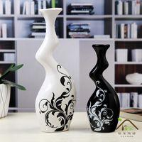 黒と白のカップル花瓶モダンなスタイリッシュなセラミック花瓶!、工芸品の装飾品、家の装飾、家具、創造的、抽象的