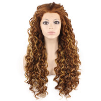 Lange lockige Highlight Auburn Hitze sicher Faser Haar Lace Front Perücke