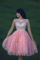 Fashionable Pink Short Homecoming Dresses 2017 Open Back Sco...