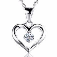 Элегантный 925 стерлингового серебра 925 кубический цирконий CZ полые сердца кулон ожерелье коллар женщин свадьбы юбилейные изделия