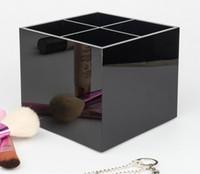 الكلاسيكية الاكريليك 4 gridwomen أدوات ماكياج حامل فرشاة التجميل دلو الجمال القلم تخزين مربع حالة الجمال مع هدية مربع