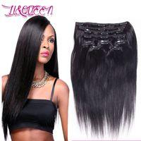 İnsan Saç Perulu Düz Klip Saç Uzatma Doğal Renk Düz Kraliçe 12-28 Inç Güzellik 100 g / grup