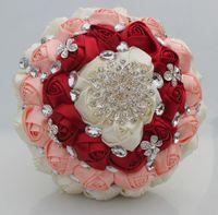 Ivoire vin rouge rose bouquets doux 15 Quinceanera bouquets Bouquets de mariée Bouquet de mariée Fleur artificielle Perles Cristal Satin Fleur W236-1