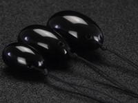 20 sätze / los Gebohrt Natürlichen Schwarzen Obsidian Yoni Ei für Kegel Übung Beckenboden Vaginalen Muskel Exerciser Jade Ei Massage Ball
