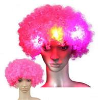 Хэллоуин диско курчавый парик Радуга Afro париков клоун Детский костюм для взрослых футбольный болельщик привело светящейся париков парики волос партии для футбола Фан-Fun