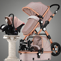 Gold baby stroller high landscape can sit or lie shock deck ...
