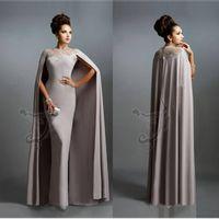 Sexy Formal Vestidos de Noite 2016 Elie Saab Cinza Com Cape Ruffles Lace Edged Barato Longo Sheer Prom Vestidos de Festa Vestido Desgaste da Noite