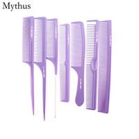7pcs diferentes tamaños de corte profesional conjunto de peine de corte, elegante peine antiestático de carbono púrpura, 7pcs / lote Salon Barbers Hair Styling conjuntos de peine