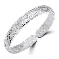 925 Sterling Silver Bangle Bracelet Chinois Style Femmes Bracelets Chinois Mot Fleur Bradelets Bohemian Bijoux Haute Qualité