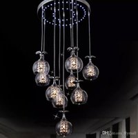 Modern Clear Wine Glass Crystal Pendant Lamp K9 Crystal Living room Restaurant Chandelier Light Hanging Suspension Light with Blue Light