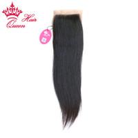 Queen Hair Products Brazilian Virgin Human Straight Hair Silk Base Closure