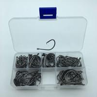 120pcs mezclar tamaño 7381 de anzuelos Negro pulpo Offset Deporte Círculo cebo de pesca del juego del gancho con la caja # 1 -5 / 0 #