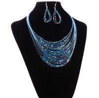 Nuevo collar de cuentas de moda Collar de gargantilla de moda Collar de múltiples capas de cuentas de vidrio Collar y pendientes conjunto de joyas