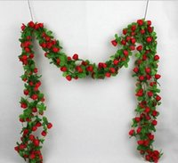 200cm Artificial Rose Garland Silk Flower Vine Ivy Green Lea...