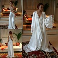 fda7ef93fb Two Pieces Bridesmaid Bride Robes Custom Made Silk Satin Bathrobe Wedding  Party Robe For Women Floor Length Lace Sleepwear