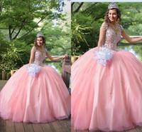 2020 роскошные розовые розовые цинкеанальные платья платья V шеи кружевные аппликации хрустальные бисером тюль сладкий 16 плюс размер вечеринка вечеринка вечеринка вечерние платья