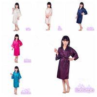 6 colores de moda infantil ropa de noche de seda sólido Kid kimono del traje para la fiesta de la noche del vestido de pijamas 60pcs CCA6355