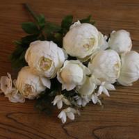 6 голов + 2 бутона + 3 водных растений искусственный Пион Шелковый цветок Свадебный декор Paeonia suffruticosa украшения цветы