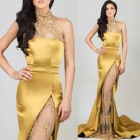 Mermaid High Neck Gold Evening Dresses Beaded Appliques See-...