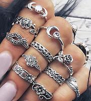 레트로 로즈 상감 다이아몬드 잎 토템 조각 11pcs 반지 세트