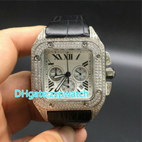 new Luxury Quartz Diamond chronograph watch brown leather ba...