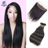 3 Bundles With Frontal Straight Brazilian Human Hair Extensi...