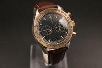 탑 시계 남자 쿼츠 크로노 그래프 바다 마스터 블랙 다이얼 오션 스톱워치 로즈 골드 베젤 플루트 케이스 시계