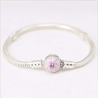 Fit pandora bangle bracelet with pink cz paved pink enammel ...