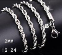 Серебряная цепь ожерелье женщины мужчины ожерелье 16-24 дюймов 2 мм веревка цепи 925 ювелирных изделий accesory 925 G215