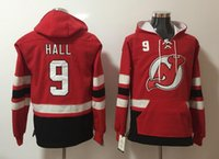 New Jersey Devils Hoodies Jerseys # 9 Hall Hockey Hoody Color rojo con bolsillos cosidos tamaño S-XXXL Old Time Mix ordenar todos Jerseys