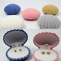 2017 새로운 도착 5 색 보석 선물 상자 바다 쉘 모양 보석 상자 귀걸이 목걸이 상자 색상 핑크